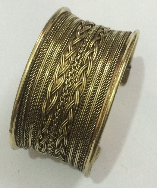 Tribal kuchi brass cuff 19