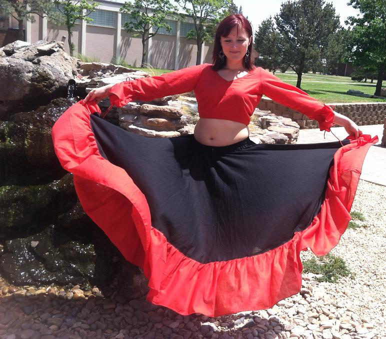 Belly dance 10- yard cotton circle skirt