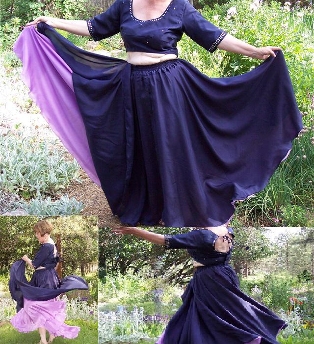 silk double layer circle skirt