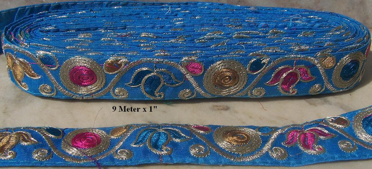 "1"" EMBROIDERED x 9 yard =Trim 47"