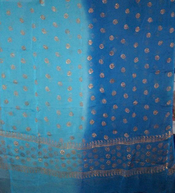 3-yard silk golden block print veil