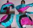 "3-yd x 44"" half-circle silk veil in 3 colors."
