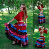belly dance Sari ruffle costume