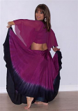 Belly dance double color silk circle skirt